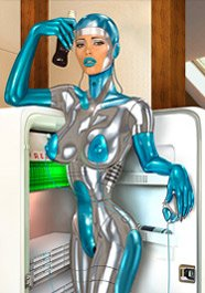 Thumbnail female cyborg cooling off at a refrigerator.