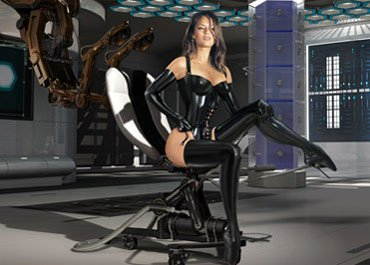 Thumbnail of beautiful woman in black latex corset and tigh-high ballet-boots.