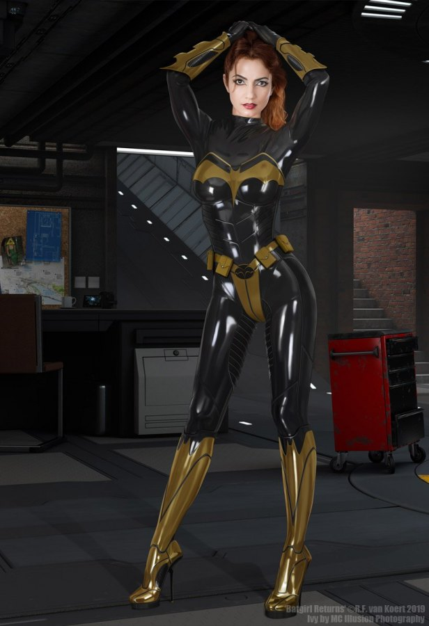 Batgirl in her protective latex catsuit Batsuit.